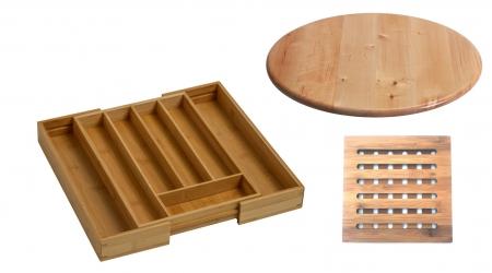 Set 3 accesorii din bambus pentru bucatarie