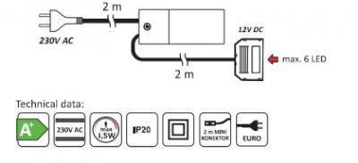 Set 3 spoturi rotunde (16 diode)
