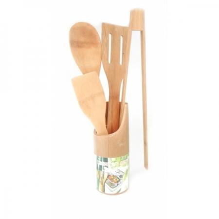 Set ustensile de bucatarie cu suport din bambus0
