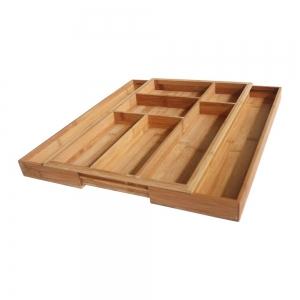 Suport organizare tacamuri, extensibil pe latime de la 285 mm la 420 mm, din bambus
