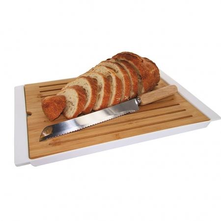 Tocator din bambus pentru paine cu tavita pentru firimituri  38x27 cm