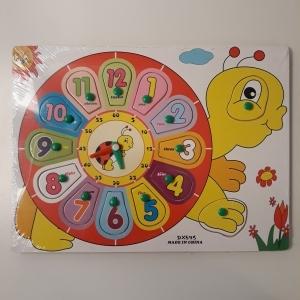 Jucarie Puzzle incastru Ceas din lemn buburuza
