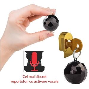 Reportofon Spy Mascat in Breloc de Chei   Memorie 4GB   Functie de Activare Vocala   32 Ore Autonomie Baterie   2 moduri de inregistrare: continuu sau la detectie de sunet