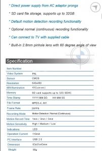 Minicamera spion profesionala mascata in incarcator de priza – lentila in mufa cablu - SpyLab CSIACLC30