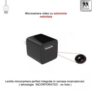 Incarcator USB telefon cu mini modul camera video spy, detector de miscare si alimentare permanenta