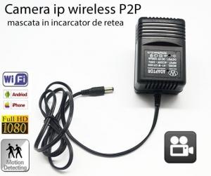 Incarcator de priza (retea) cu minicamera spy DVR + WI-FI IP P2P mascata , 32 GB, 1080p, IPCCSIPWIFI78, alimentare continua