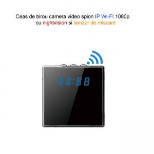 Camera video  IP WI-FI  spion camuflata in ceas de birou cubic, 1920x1080p, senzor de miscare