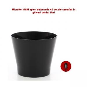 Ghiveci de Flori Negru cu Microfon  Gsm pentru Spionaj Audio in Timp Real, Functie de Activare Vocala,  2 Microfoane Incorporate