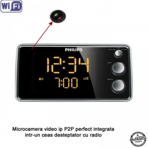 Camera video spy 1920x1080P, WI-FI IP P2P integrata in ceas de birou cu radio