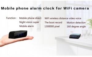 Camera spion WI-FI IP HD Ascunsa in Ceas Desteptor | Infrarosu Nedetectabil | Aplicatie dedicata | Suporta card micro SD de maxim 32 GB | Senzor de Miscare | CCSWIIP112