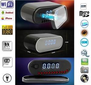 Camera video wi-fi ip p2p spy incorporata in ceas de birou cu senzor de miscare si filmare pe timp de noapte -CCSWIIP121