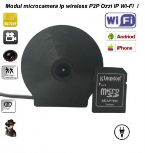 Modul microcamera de spionaj DVR + IP wi-fi profesionala P2P usor de ascuns OZIIPWIFI ( recomandat la integrari )