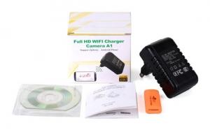 Incarcator retea cu camera spion DVR +  WI-FI IP P2P mascata , 32 Gb, 1080p, IPCCSIPWIFI79, alimentare continua