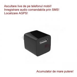 Microfon spy HIBRID cu reportofon 2400 de ore + microfon gsm cu detectie voce + agps mascat in incarcator USB negru
