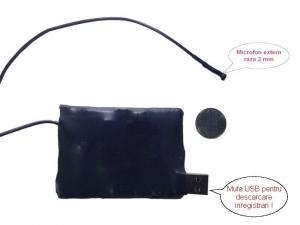 Mini microfon spy cu inregistrare 2mm (reportofon) - 10 zile autonomie, X-tend ,activare la voce- BB2000EXVA8GB