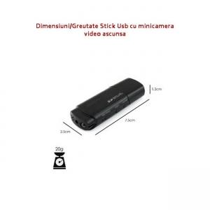 Camera video cu filmare pe timp de noapte ascunsa in stick USB de memorie   Rezolutie video: 1920x1080P   Suporta card micro-SD: 32GB   Filmare cu night vision   Autonomie filmare: 120 minute