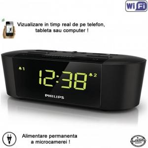 Camera spion WI-FI IP P2P camuflata in ceas de birou cu radio, camera spy cu senzor de miscare si rezolutie video 1080p