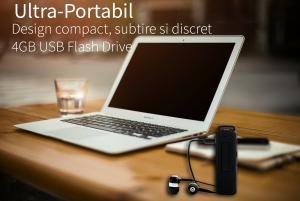 Reportofon Spion Ultra-Profesional Camuflat in Stick USB cu Activare Vocala | 4GB/282 de ore | Clear HD 384kbps/32kbps | Baterie 26 de ore | Casti incluse | MAA-V4GB