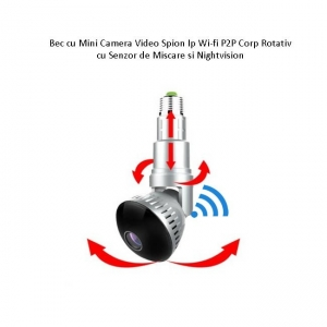 Camera Video Ip Wi-fi DVR pentru Spionaj Discret Camuflata in Bec Corp Rotativ Extensibil, Senzor de Miscare, NightVision Invizibil, 32Gb