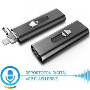 Reportofon Spion cu Activare Vocala Ascuns in Stick USB de Memorie   4GB - 74 de Ore    Solutie Optima SR094GB22