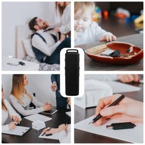 Stick USB cu Reportofon Spion Incorporat | Memorie: 8GB/560 de ore inregistrari | Calitate audio: Ultra Clear HD | Casti - ascultare directa a inregistrarilor | Baterie: 25 de Ore
