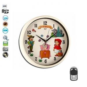 Ceas de perete camera spion pentru camera copiilor, senzor de miscare, telecomanda, card microSD 32Gb, 1920x1080p