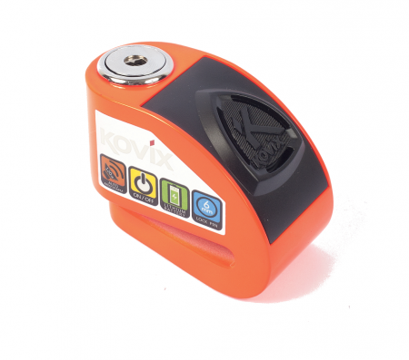 Lacat de disc cu alarma Kovix KD6, Bolt 6 mm, Fluo Orange