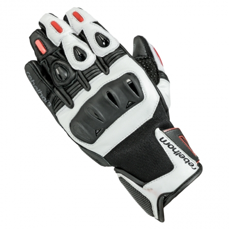 Manusi de piele Rebelhorn Flux Pro, White/Black/Red