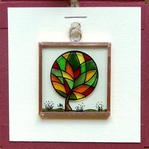 Miniatură pictată pe sticlă motiv Copacul Fericirii2
