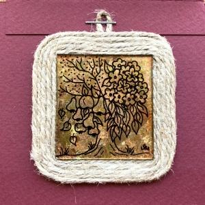 Miniatură pictată pe sticlă motiv Pomul Vieții
