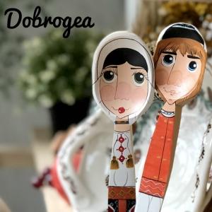 Lingură pictată manual - flăcău din Dobrogea