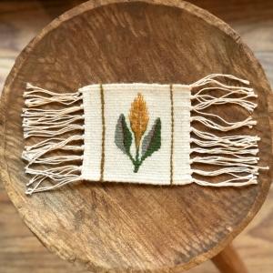 Carpetă 10x10 cm motiv spic de grâu galben