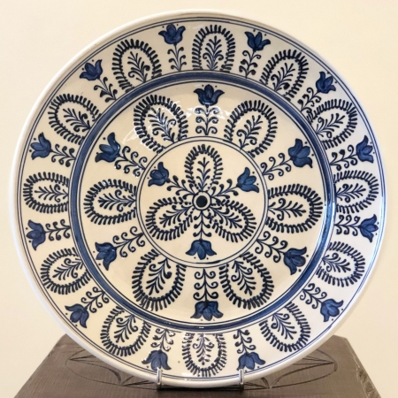 Farfurie alb-albastră Ø 28 cm model 3