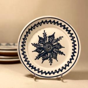 Farfurie alb albastră Ø 14 cm model 2