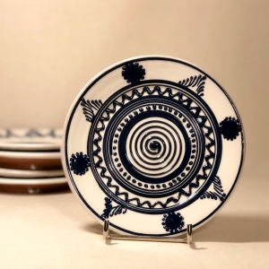 Farfurie alb albastră Ø 14 cm model 6