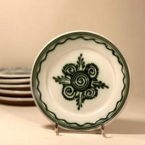 Farfurie alb verde Ø 14 cm model 4
