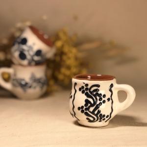 Pahar țuică alb albastru model 2