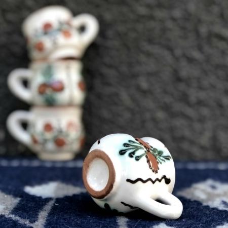 Pahar țuică alb maro model 2
