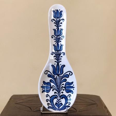 Suport lingură alb-albastru model 1