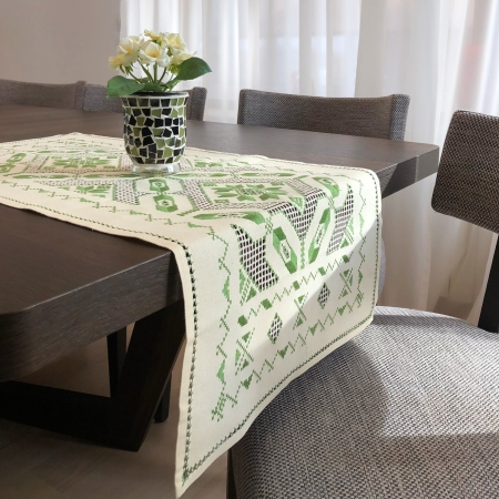 Șervet de masă - 0.5x1 m broderie verde2