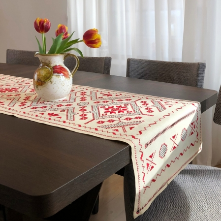 Șervet de masă - 0.5x1.5 m broderie roșie2