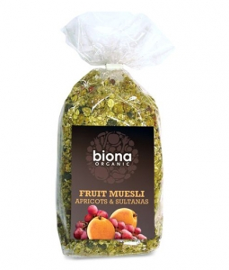 Musli cu stafide si caise bio 500g Biona