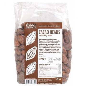 DRAGON SUPERFOOD BOABE DE CACAO INTREGI ECO 200 GR