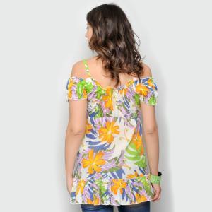 Bluza florala de vara cu umerii goi