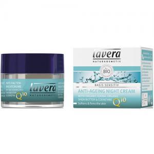 Crema de noapte antirid cu coenzima Q10, Basis Sensitiv, 50 ml, Lavera