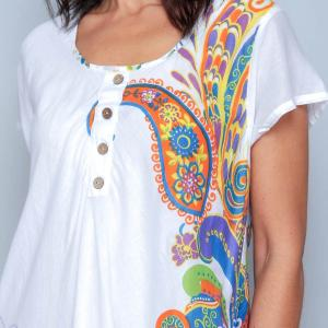Rochie alba de vara cu imprimeu floral - BUZUNARE