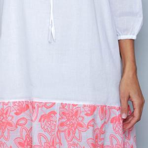 Rochie alba de vara si bordura printata- ROZ