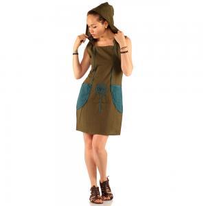 Rochie din bumbac cu buzunare - KAKI