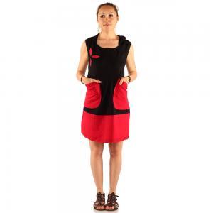Rochie medie rosu si negru - GLUGA