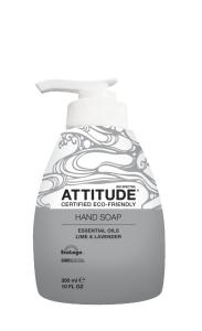 Sapun Bio pentru maini, Attitude, cu uleiuri esentiale de lime şi lavanda, 300ml